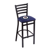 L004 - 25 Black Wrinkle Winnipeg Jets Stationary Counter Stool with Ladder Style Back by Holland Bar Stool Co.