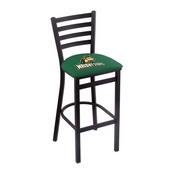 L004 - 30 Black Wrinkle Wright State Stationary Bar Stool with Ladder Style Back by Holland Bar Stool Co.
