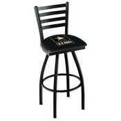 L014 - Black Wrinkle U.S. Army Swivel Bar Stool with Ladder Style Back by Holland Bar Stool Co.
