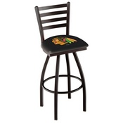 L014 - Black Wrinkle Chicago Blackhawks Swivel Bar Stool with Ladder Style Back by Holland Bar Stool Co.
