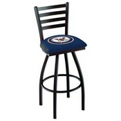 L014 - Black Wrinkle U.S. Navy Swivel Bar Stool with Ladder Style Back by Holland Bar Stool Co.