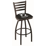 L014 - Black Wrinkle POW/MIA Swivel Bar Stool with Ladder Style Back by Holland Bar Stool Co.