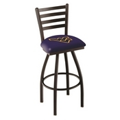 L014 - Black Wrinkle West Virginia Swivel Bar Stool with Ladder Style Back by Holland Bar Stool Co.