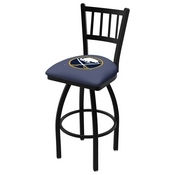 L018 - Black Wrinkle Buffalo Sabres Swivel Bar Stool with Jailhouse Style Back by Holland Bar Stool Co.