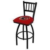 L018 - Black Wrinkle Calgary Flames Swivel Bar Stool with Jailhouse Style Back by Holland Bar Stool Co.