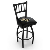 L018 - Black Wrinkle Central Florida Swivel Bar Stool with Jailhouse Style Back by Holland Bar Stool Co.