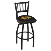 L018 - Black Wrinkle Chicago Blackhawks Swivel Bar Stool with Jailhouse Style Back by Holland Bar Stool Co.