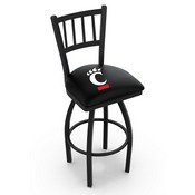 L018 - Black Wrinkle Cincinnati Swivel Bar Stool with Jailhouse Style Back by Holland Bar Stool Co.