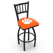 L018 - Black Wrinkle Clemson Swivel Bar Stool with Jailhouse Style Back by Holland Bar Stool Co.