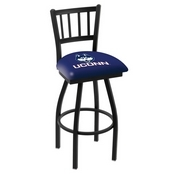 L018 - Black Wrinkle Connecticut Swivel Bar Stool with Jailhouse Style Back by Holland Bar Stool Co.