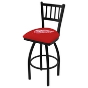 L018 - Black Wrinkle Detroit Red Wings Swivel Bar Stool with Jailhouse Style Back by Holland Bar Stool Co.