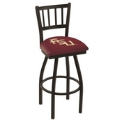 L018 - Black Wrinkle Florida State (Script) Swivel Bar Stool with Jailhouse Style Back by Holland Bar Stool Co.