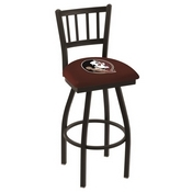 L018 - Black Wrinkle Florida State (Head) Swivel Bar Stool with Jailhouse Style Back by Holland Bar Stool Co.