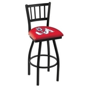 L018 - Black Wrinkle Fresno State Swivel Bar Stool with Jailhouse Style Back by Holland Bar Stool Co.