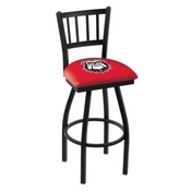L018 - Black Wrinkle Georgia Bulldog Swivel Bar Stool with Jailhouse Style Back by Holland Bar Stool Co.