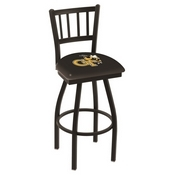 L018 - Black Wrinkle Georgia Tech Swivel Bar Stool with Jailhouse Style Back by Holland Bar Stool Co.