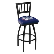 L018 - Black Wrinkle Gonzaga Swivel Bar Stool with Jailhouse Style Back by Holland Bar Stool Co.