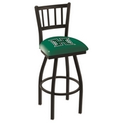 L018 - Black Wrinkle Hawaii Swivel Bar Stool with Jailhouse Style Back by Holland Bar Stool Co.