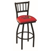 L018 - Black Wrinkle Illinois State Swivel Bar Stool with Jailhouse Style Back by Holland Bar Stool Co.