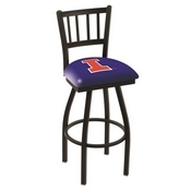 L018 - Black Wrinkle Illinois Swivel Bar Stool with Jailhouse Style Back by Holland Bar Stool Co.