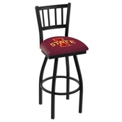 L018 - Black Wrinkle Iowa State Swivel Bar Stool with Jailhouse Style Back by Holland Bar Stool Co.