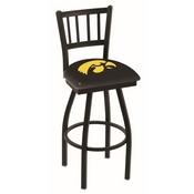 L018 - Black Wrinkle Iowa Swivel Bar Stool with Jailhouse Style Back by Holland Bar Stool Co.