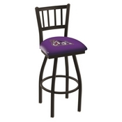 L018 - Black Wrinkle James Madison Swivel Bar Stool with Jailhouse Style Back by Holland Bar Stool Co.