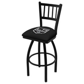 L018 - Black Wrinkle Los Angeles Kings Swivel Bar Stool with Jailhouse Style Back by Holland Bar Stool Co.