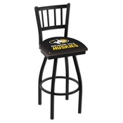 L018 - Black Wrinkle Michigan Tech Swivel Bar Stool with Jailhouse Style Back by Holland Bar Stool Co.