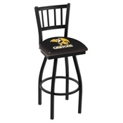 L018 - Black Wrinkle Missouri Western State Swivel Bar Stool with Jailhouse Style Back by Holland Bar Stool Co.