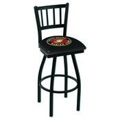 L018 - Black Wrinkle U.S. Marines Swivel Bar Stool with Jailhouse Style Back by Holland Bar Stool Co.