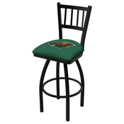 L018 - Black Wrinkle Minnesota Wild Swivel Bar Stool with Jailhouse Style Back by Holland Bar Stool Co.