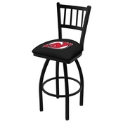 L018 - Black Wrinkle New Jersey Devils Swivel Bar Stool with Jailhouse Style Back by Holland Bar Stool Co.