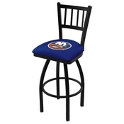 L018 - Black Wrinkle New York Islanders Swivel Bar Stool with Jailhouse Style Back by Holland Bar Stool Co.