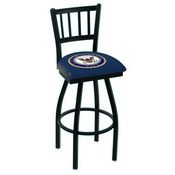 L018 - Black Wrinkle U.S. Navy Swivel Bar Stool with Jailhouse Style Back by Holland Bar Stool Co.