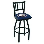 L018 - Black Wrinkle U.S. Navy Swivel Bar Stool with Jailhouse Style Back by Holland Bar Stool Co.