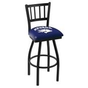 L018 - Black Wrinkle Nevada Swivel Bar Stool with Jailhouse Style Back by Holland Bar Stool Co.