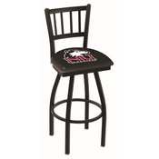 L018 - Black Wrinkle Northern Illinois Swivel Bar Stool with Jailhouse Style Back by Holland Bar Stool Co.