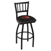 L018 - Black Wrinkle Oregon State Swivel Bar Stool with Jailhouse Style Back by Holland Bar Stool Co.