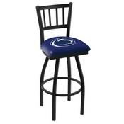 L018 - Black Wrinkle Penn State Swivel Bar Stool with Jailhouse Style Back by Holland Bar Stool Co.