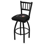 L018 - Black Wrinkle Philadelphia Flyers Swivel Bar Stool with Jailhouse Style Back by Holland Bar Stool Co.