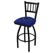 L018 - Black Wrinkle St Louis Blues Swivel Bar Stool with Jailhouse Style Back by Holland Bar Stool Co.