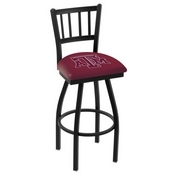 L018 - Black Wrinkle Texas A&M Swivel Bar Stool with Jailhouse Style Back by Holland Bar Stool Co.