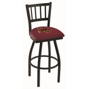 L018 - Black Wrinkle Texas State Swivel Bar Stool with Jailhouse Style Back by Holland Bar Stool Co.