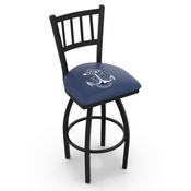 L018 - Black Wrinkle US Naval Academy (NAVY) Swivel Bar Stool with Jailhouse Style Back by Holland Bar Stool Co.