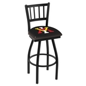 L018 - Black Wrinkle Virginia Military Institute Swivel Bar Stool with Jailhouse Style Back by Holland Bar Stool Co.
