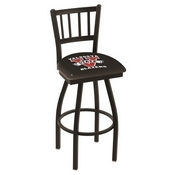 L018 - Black Wrinkle Valdosta State Swivel Bar Stool with Jailhouse Style Back by Holland Bar Stool Co.