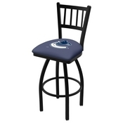 L018 - Black Wrinkle Vancouver Canucks Swivel Bar Stool with Jailhouse Style Back by Holland Bar Stool Co.