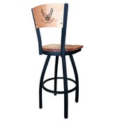 L038 - Black Wrinkle U.S. Air Force Swivel Bar Stool with Laser Engraved Back by Holland Bar Stool Co.