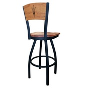 L038 - Black Wrinkle Arizona State Swivel Bar Stool with Laser Engraved Back and Pitchfork Logo by Holland Bar Stool Co.